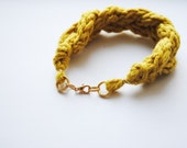the Fulton knit braided bracelet in mustard yellow