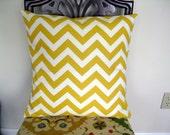 a Pair of Yellow and White Chevron Stripe Pillows