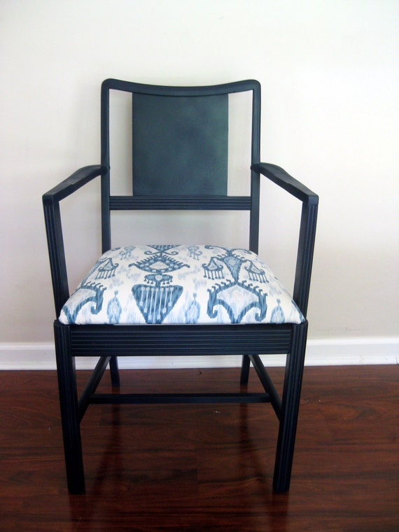 Vintage Chair Modern Navy With Blue Gray White Ikat Seat