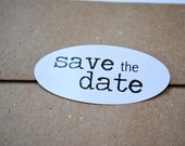 """50 Wedding """"Save the date"""" Labels - 2"""" x 1"""" - Oval seals/Stickers/labels"""