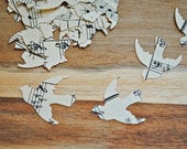 "100 Vintage DOVE / bird Cutouts (1"") - Vintage Music Sheet"