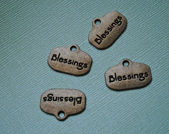 S A L E - Antiqued Bronze Blessings Charm