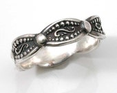 Patterned Silver Ring- Handmade- Antique Styled