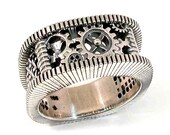 SteamPunk Silver Ring - Gears Grooves and Grates - Mens Steam Punk- Handmade