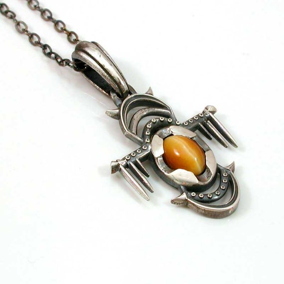 Sterling Silver and Tigers Eye Pendant- Creature No. 3-  Handmade