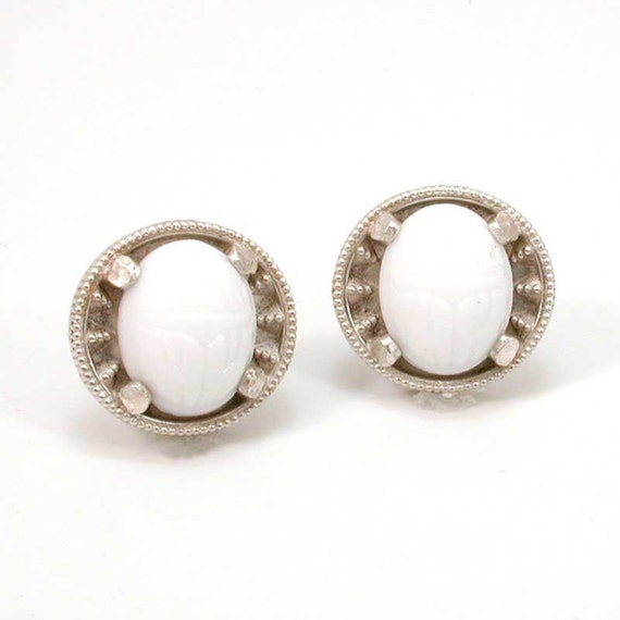 Silver and Scarab Post Earrings- Handmade