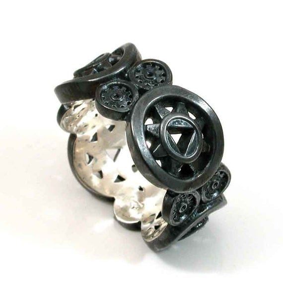 black silver steunk mens ring handmade by