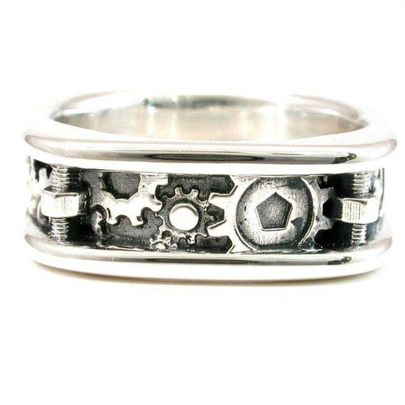 Mens Steampunk Gear Ring - Sterling Silver - Bolts and Gears