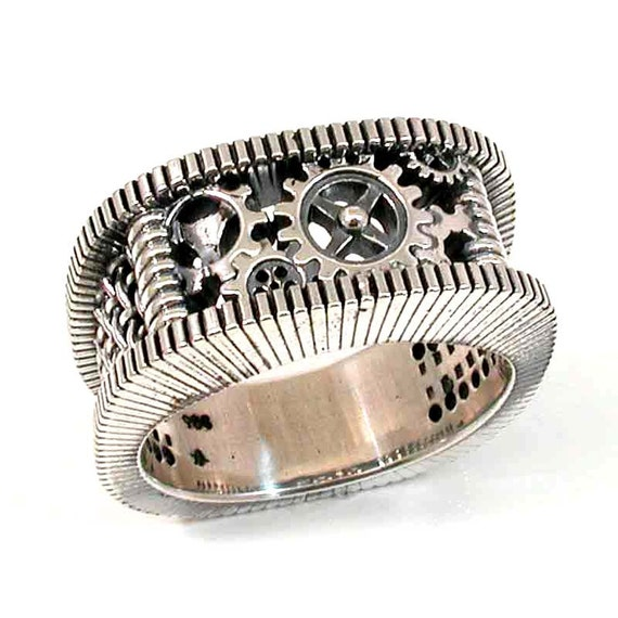 Ready to Ship Size 10 - 10.5 SteamPunk Silver Ring - Gears Grooves and Grates - Mens Steam Punk- Handmade
