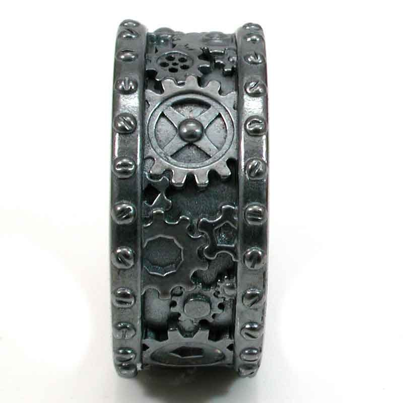 steampunk black silver gear ring steam punk wedding ring With gear mens wedding ring