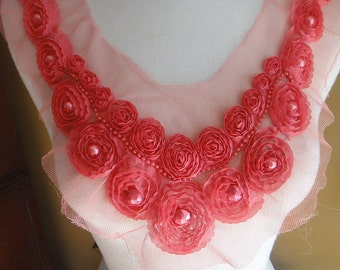Beaded and  embroidery chiffon flower  applique pink     color