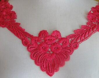 Cute venice   applique  yoke hot pink color