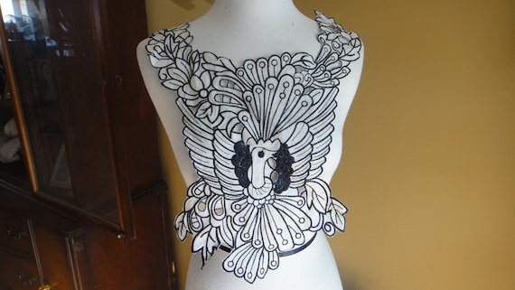 Embroidery    applique white and  black color