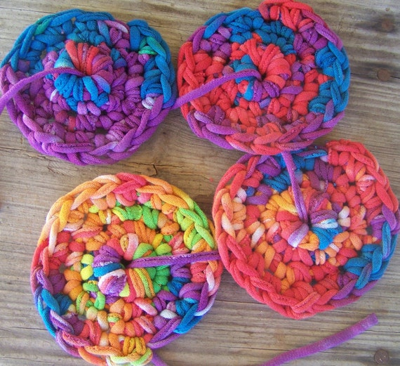 Crochet Coaster Set Made Out Of Recycled T Shirt Yarn Rainbow