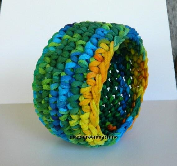 Crochet Bowl made using Recycled T-Shirt Yarn, TShirt Yarn, Tie Dye