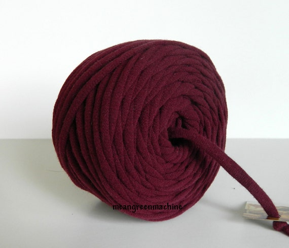 Burgundy 40 Yards Recycled T-Shirt Yarn, T Shirt Yarn, Bulky