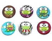 Colorful Keroppi Frog inspired Set of 6 - 1 inch Pinback Buttons Badges or Flatbacks (Set1)