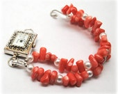 Interchangeable Bracelet Watch - Pearls and Coral