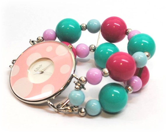 Interchangeable Chunky Beaded Watch - Spring Bubbles