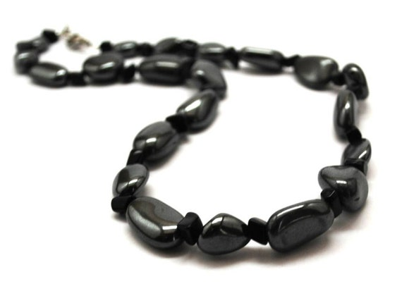 Fathers Day Mens Hematite and Onyx Necklace