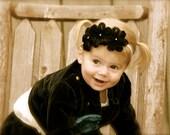 Shabby Rose Headband in Black, Fuschia, and Turquoise