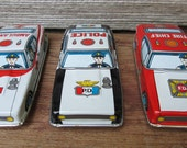 3 Vintage Tin Litho Japan Toy Friction Cars, Police, Fire Chief & Ambulance - NOS
