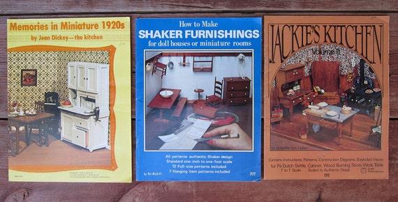 SALE - 3 1970's Miniature Furniture Craft Pattern Books - 1 Inch to 1 Foot Scale