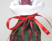 Red and Green Stripe, Wine Gift Bag