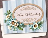 Personalized Folded Note Cards Thank You, vintage floral, blue stripe