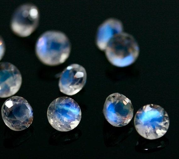 rainbow moonstone 4mm 5 pieces faceted gemstones 4 mm