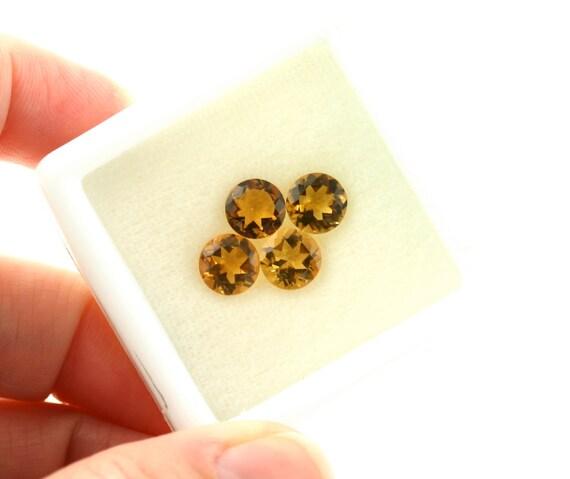 Golden Citrine Parcel 7mm Round Faceted Gemstones Wholesale Semi-Precious Loose Stones 1285/4
