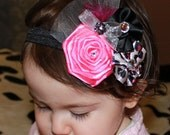 Hot Pink, Black Silver Cheetah Print Triple Flower Bow Feathers, Tulle Rhinestone accents on Elastic Headband
