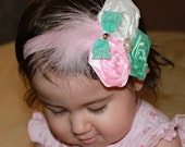 Baby Toddler Girl Boutique Fancy Triple pink aqua and white Roses with pearl and feathers on Elastic Headband Photo Prop