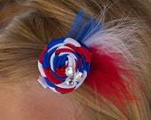 Patriotic July 4th Small Red White Blue Flower Hair Clip Bow with Tulle and Feathers Accents