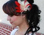 Bridal Red goose feathers and Bleached Ivory Peacock Boutique Hair Clip Fascinator w Pearl accents Photp Prop