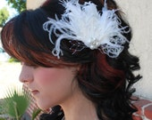 Bridal White Curly Goose Feather and Ostrich feathers Boutique Hair Clip Fascinator w Pearl and Rhinestone accents Photp Prop