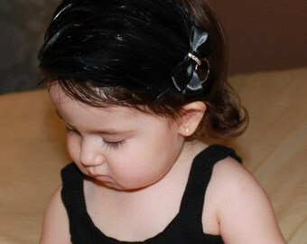 SALE Baby Toddler Girl Boutique Fancy Black Feather Pad Bow on Elastic Headband Photo Prop