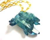 Aqua Aura Quartz Crystal Point Cluster SPACE DAGGER Necklace