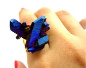 Titanium Quartz Cobalt Blue Rainbow Crystal Druzy Ring SPACE DAGGER Cross Point Cluster