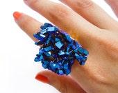 Titanium Crystal Cobalt Blue Druzy Ring Rainbow Aura Stone Cluster