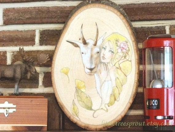 Weeping Mountain Fairy -- Original Illustration on Wood