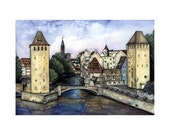 Strasbourg, France  NEW- Fine Art Print from the German Watercolor Artist Tina Janson