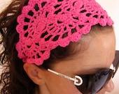 HEADBAND - Crochet Hairband- Spring Summer Headband Hair Fashion Accessories - handcrochet headband in hot pink color