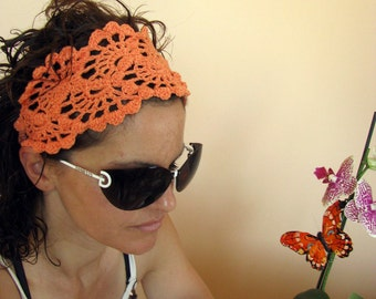 Crochet Headband -  Lace Hairband-  Summer Fashion Accessories - handcrochet headband in orange color