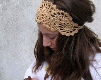 Crochet Hair Accessories - Crochet Head Band - Crochet HairBand -  Summer  Hair Fashion Accessories - handcrochet headband in beige  color