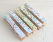 Decorated Clothes Pins/ Clothes Pegs / Clips - VINTAGE ROAD MAP - Set of 5 - Featured in Issue 2 of Mollie Makes