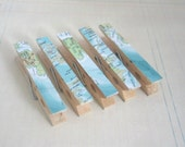 Decorated Clothes Pins / Clothes Pegs / Clips - VINTAGE ATLAS - Set of 5