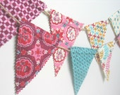 A Beautiful Mini Fabric Bunting / Garland / Flag Pennant / Photo Prop / Nursery Decor / Party Decor in MODA Domestic Bliss fabric