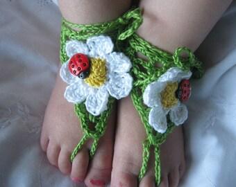 Barefoot Sandals Ladybug Green - Newborn to Child