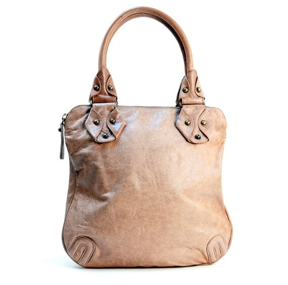 """Wheat """"Palmer Tote"""" in Italian lambskin with antique brass hardware and fuchsia suede lining"""